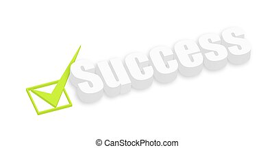3d Success Text with Check Symbol Vector Background