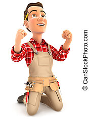 3d successful handyman on his knees, illustration with...