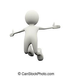 3d successful person jump