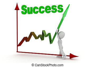 3d, sucesso, homem negócio