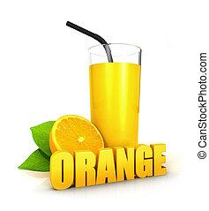 3d, suco laranja, conceito
