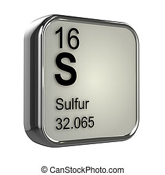 3d render of the sulfur element from the periodic table