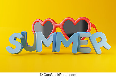 3d Summer word with sunglasses.