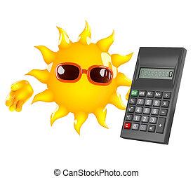 3d Sun character has a calculator
