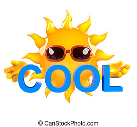 "3d Sun character holding the word ""Cool"""