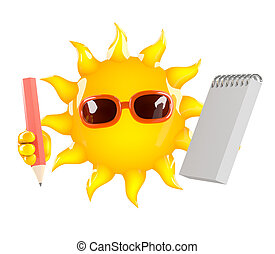 3d Sun character with a notepad and pencil