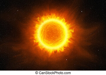 3d sun flaming in the starry night sky