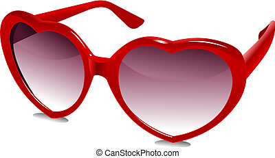 3D Sun Glasses 03 - illustration of a pair of red heart...