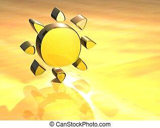3D Sun Gold Sign