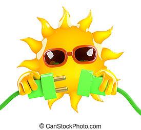 3d Sun green energy
