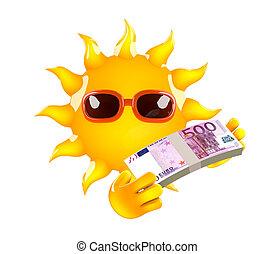 3d Sun has Euro bank notes