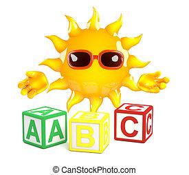3d Sun learns the alphabet - 3d render of the sun with...