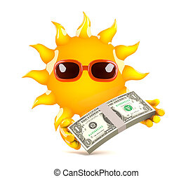 3d Sun payday - 3d render of the sun holding US Dollars