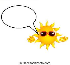 3d Sun speech balloon