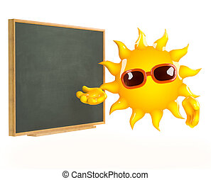 3d Sun teaches at the blackboard