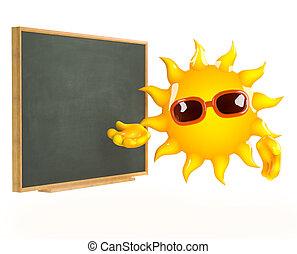 3d Sun teaches at the blackboard