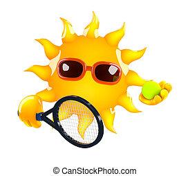 3d render of the Sun holding a tennis raquet