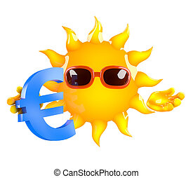 3d Sun with a Euro currency symbol