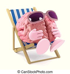 3d Sunbathing brain - 3d render of a brain sunbathing in a...