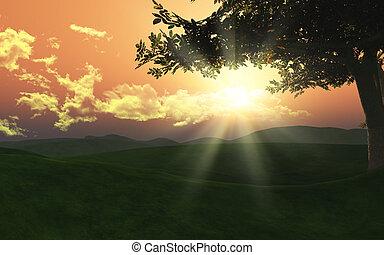 3d sunset landscape