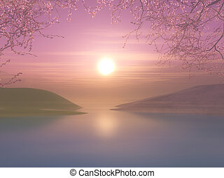 3D sunset landscape with cherry tree against a sunset sky