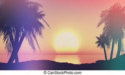 3D sunset landscape with retro effect