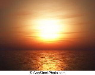 3D sunset ocean background