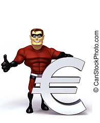 3d Super Hero with euro symbol