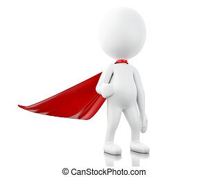 3d Super hero with red cape. - 3d renderer image. Super hero...
