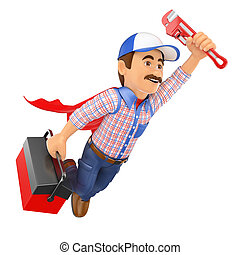 3D Super Plumber flying with toolbox and pipe wrench