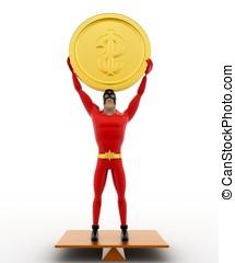 3d, superhero, el balancear, en, seasaw, y, tenencia, moneda, arriba, concepto