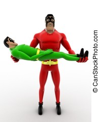 3d superhero holding baby superhero in hands concept