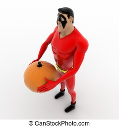3d superhero  holding pumpkin in hand concept
