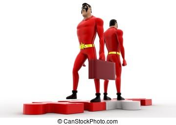 3d superhero on path of puzzle concept