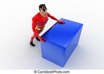 3d superhero pushing cube concept