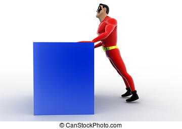 3d superhero pushing cube concept