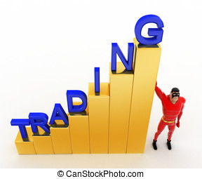 3d superhero with growth graph of trading concept