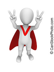 3d superhero with red cape. Victory gesture.