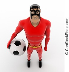 3d superhero with soccer ball in hand concept