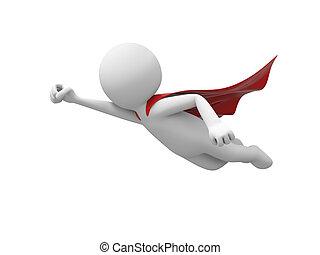superman - 3d superman, superhero flying in red cloak