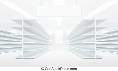 3D Supermarket Aisle With White Blank Empty Shelves
