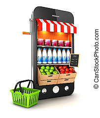 3d supermarket smartphone, isolated white background, 3d...