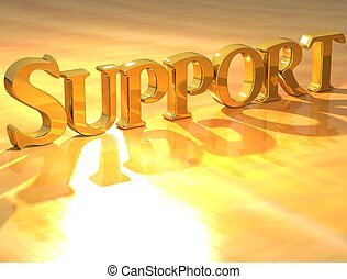 3D Support Gold text over yellow background