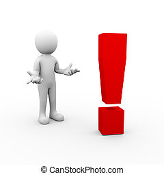 3d surprise man and exclamation mark symbol