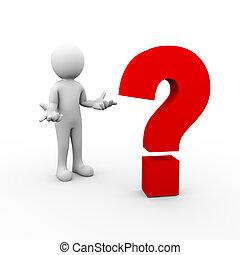 3d surprise man and question mark symbol