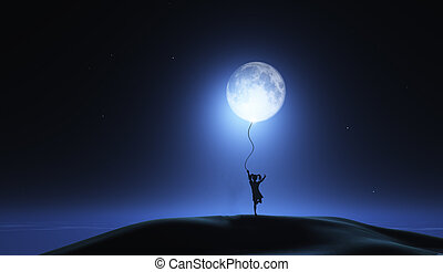 3D surreal image with girl holding moon as a balloon - 3D...
