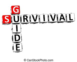 3D Survival Guide Crossword on white background