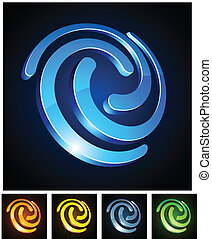 3d swirl emblems. - Vector illustration of swirl shiny...