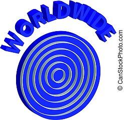 3D symbol of blue world on white background