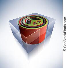 3D symbol: Peace symbol